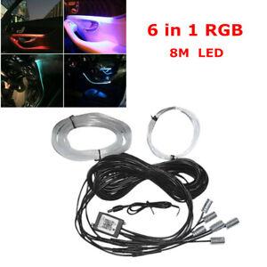 6 in 1 RGB LED 8M Fiber Optic Car Neon EL Strip Light bluetooth APP Remote Decor