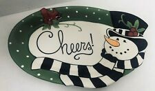 Fitz and Floyd Frosty's Frolic Sentiment Tray Plate Platter Snowman Cheers!