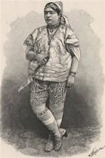Tunisian Jewess 1885 old antique vintage print picture