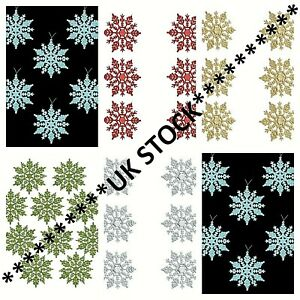 6X Hanging Colourful Glitter Snowflakes Christmas Tree BAUBLE Pendant Decoration