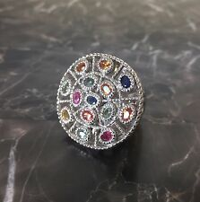 Sima K Sterling Silver Colors of Sapphire Multi Gemstone Ring - 7