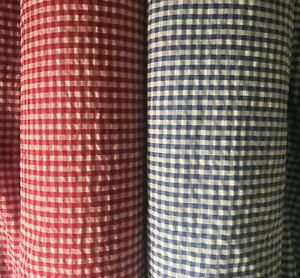Red or Blue Seersucker Small Check - Fabric Polycotton - Summer, by the metre