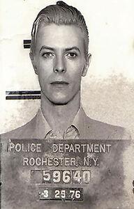"A1 paper for your glass frame poster David Bowie Mugshot NY Police arrest 36"""