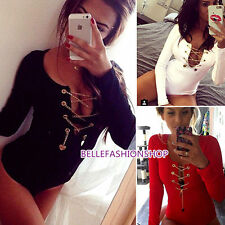 Sexy Women Front Plunge Metal Lace Up  Romper Bodysuit Leotard Jumpsuit 100b