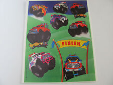 Vintage Hallmark Colorful Monster Truck Race Sticker Sheet