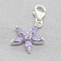 925 Sterling Silber Charm Armband Anhänger Blume Blüte Zirkonia lila + Etui
