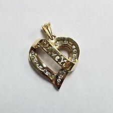 14k Yellow Gold Diamond Heart I Love You Pendant Jewelry #RB-ILUP32