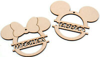 Wooden Mickey Mouse Bauble Personalised Minnie Mouse Disney Monogram Decoration