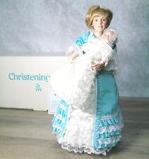 CHRISTENING DAY Set 2 PORCELAIN DOLL Victorian Mother Newborn Baby Danbury Mint