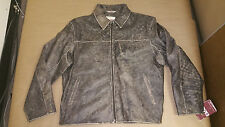 Bod & Christensen Men's Washed Leather Bomber Heavy Duty Jacket Size 40-46