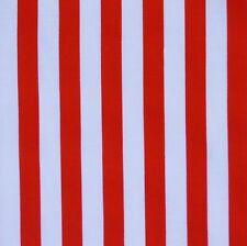 Red & White 11mm Stripe Polycotton Fabric Pirate *Per Metre*