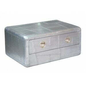 """40"""" L Coffee Table Single Drawer Industrial Avaitor Aluminum Grey Single Drawer"""