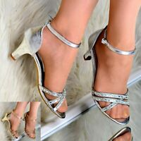 Womens Mid Heel Party Sandals Rhinestone Ankle Strap Shoes Formal Metallic Size