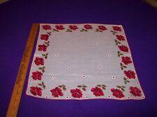 Vintage #1 Valentine Hearts/Roses Hand Hem Edge Hankie Handkerchief