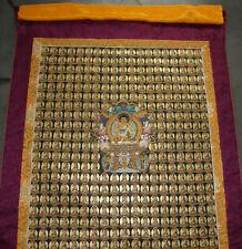 Feinstes THANGKA! 1000 Buddha aus NEPAL! MASTERPIECE in Brokat! 111x70cm