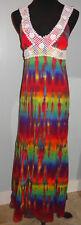 New Womens Boho Old Navy Hippie Tie dye dyed maxi crepe dress S SM Small Rainbow