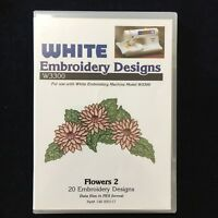 Flowers 2 Embroidery Designs Card Fits  Deco Brother Baby Lock White