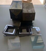 """Vintage 2 1/4"""" x2 1/4"""" slide mounts - Double Fold Aluminum Masks & Slide Binders"""