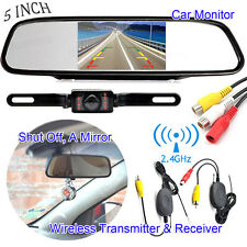 "5"" Car TFT LCD Mirror Monitor Wireless Reverse Backup Camera fr Parking System"