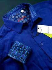 Robert Graham Geometric Diamond Check Print Large Navy Blue Sports Shirts