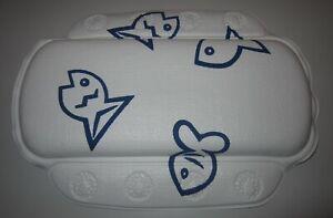 Badewannenkopfpolster Badewannen Kopfpolster weiß mit blauem Fisch, extra bequem