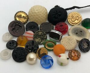 Antique Button Lot - Enamel, Metal Picture, Twinkle, Pearl, Depression Glass+++