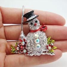 Silver Tone Christmas Snowman Broom Flower Enamel Brooch Pin Rhinestone Crystal