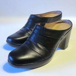 """Sabots femme """"Easyspirit"""", cuir noir, talons compensés 8 cm, point. 7 et 1/2(US)"""