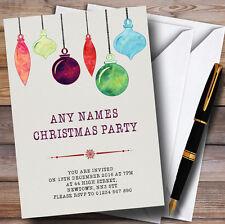 Acuarela Baubles Personalizado Invitaciones Fiesta De Navidad
