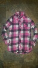 Planet Gold Girks Pink Black Plaid Flannel Shirt Medium 10-12