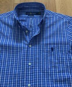 M size Ralph Lauren seersucker men's short sleeve blue check shirt