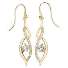 9ct Yellow Gold & Cubic Zirconia Twisted Swirl Drop Hook Earrings 20x5mm