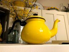 Vintage Yellow Enamel Teapot Enamelware Coffee Mid Century Tea Kettle