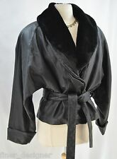 Wilsons Leather Jacket Faux Fur Collar zip Thinsulate belt coat jacket womens M