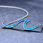 Women Necklace Drop Water Spiral Pendant Silver Blue Fire Opal Jewelry