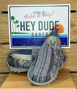 Dude Shoes - Mens - Farty Chambray Stripes Red - Cotton