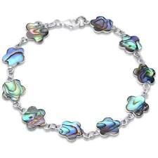 """Abalone Shell Flower .925 Sterling Silver Bracelet 7"""""""