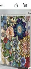 Boho Bright Floral Shower Curtain Set Bath Curtain Waterproof Fabric 12 Hooks
