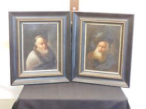 Antique c18th/19th Century Dutch Master Original Oil On Wood Panel Portraits #2
