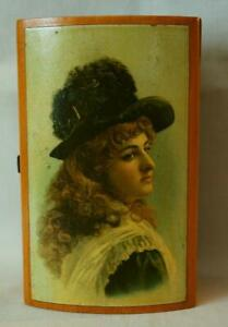 Mauchline Ware Victorian Illustration J & P Coats Sewing Cotton Box Lovely Lady