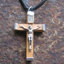 Jesus Kette Kreuz Herrenkette Holz Kreuzkette Lederkette Damen Herren Halskette
