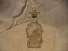 Vtg hand painted pressed glass liquor decanter bottle. Tree /w Bird Old Fritgera