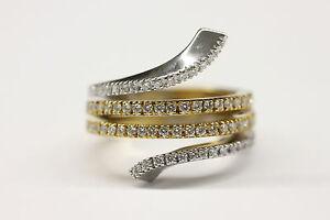 DAMIANI 18K YELLOW & WHITE GOLD 4 ROW DIAMOND EDEN COLLECTION RING SIZE 7.5