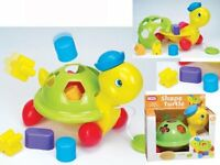 Shape Sorting Fun Pull Along Shape Turtle Educational Baby Toy