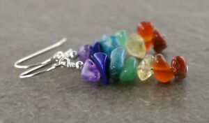 Rainbow Pride Chakra Natural Gemstone Chip & Sterling Silver Drop Earrings