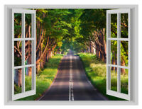 Forest Road Path Window Poster 3D Art Wall Sticker Vinyl Decal Mural