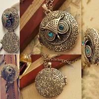 Damen Bronze Eule Uhu Owl Anhänger Halskette Vintage Blau Strass D4V8