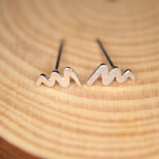 Brushed Solid 925 Sterling Silver Small Wave Lightning curved Line Stud Earrings