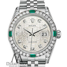 Women's Rolex Datejust 26mm SteelSilver Jubilee Metal Emerald Diamond DialWatch