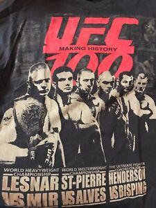 UFC 100 LESNAR ST-PIERRE ETC T Shirt Men MEDIUM Black W/Red Logo MMA